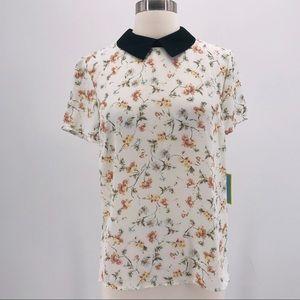 CeCe Black Collar Floral Print Top NWT